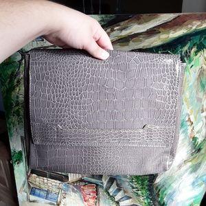 Vince Camuto Grey Faux Alligator Texture Clutch